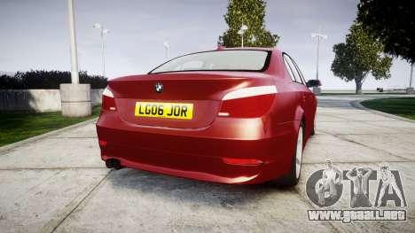 BMW 525d E60 2006 para GTA 4 Vista posterior izquierda