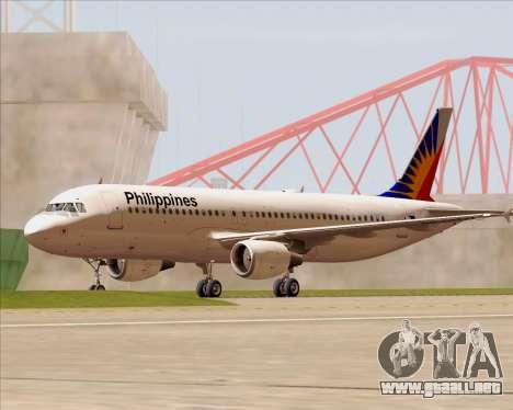 Airbus A320-200 Philippines Airlines para vista inferior GTA San Andreas