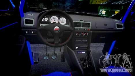 Subaru Impreza WRC 1998 v4.0 World Rally para GTA 4 vista hacia atrás