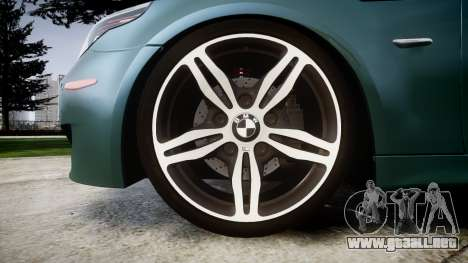 BMW M5 E60 v2.0 Stock rims para GTA 4 vista hacia atrás