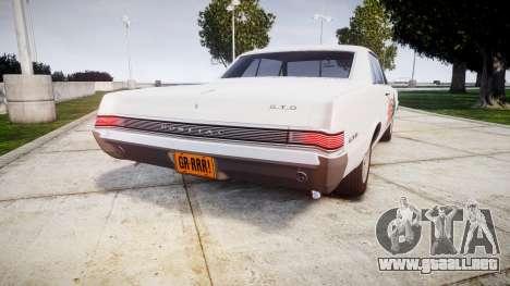 Pontiac GTO 1965 united para GTA 4 Vista posterior izquierda