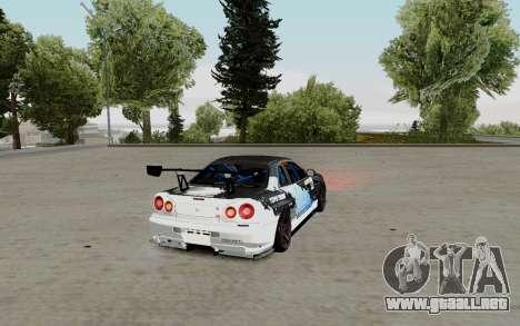 Nissan Skyline GT-R 34 Toyo Tires para GTA San Andreas vista posterior izquierda
