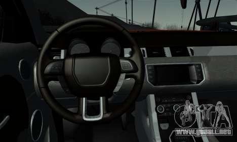 Range Rover Evoque 2014 para GTA San Andreas vista posterior izquierda
