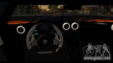 Koenigsegg One:1 v2 para GTA San Andreas vista posterior izquierda