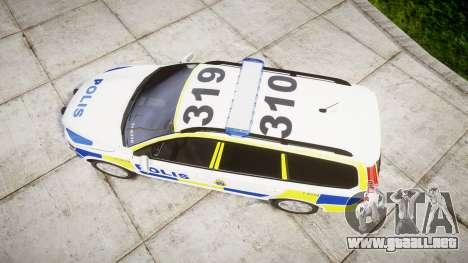 Volvo V70 2014 Swedish Police [ELS] Marked para GTA 4 visión correcta