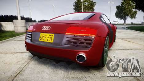 Audi R8 V10 Plus 2014 para GTA 4 Vista posterior izquierda