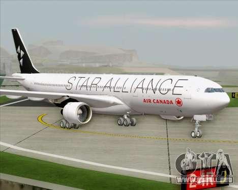 Airbus A330-300 Air Canada Star Alliance Livery para GTA San Andreas vista posterior izquierda