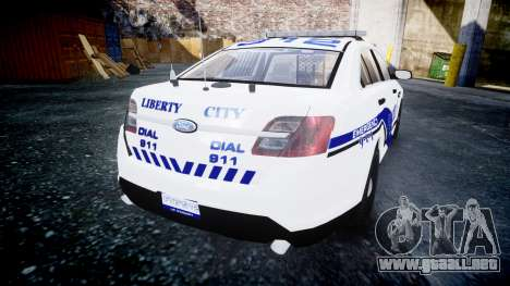 Ford Taurus 2014 Liberty City Police [ELS] para GTA 4 Vista posterior izquierda