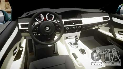 BMW M5 E60 v2.0 Stock rims para GTA 4 vista interior