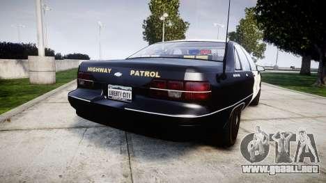 Chevrolet Caprice 1991 Highway Patrol [ELS] Slic para GTA 4 Vista posterior izquierda