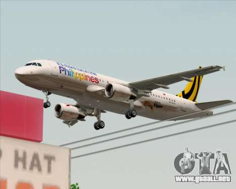 Airbus A320-200 Tigerair Philippines para vista inferior GTA San Andreas