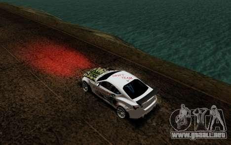 Subaru BRZ VCDT para GTA San Andreas vista hacia atrás