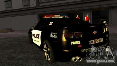 Chevrolet Camaro Police para GTA San Andreas left
