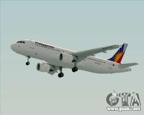 Airbus A320-200 Philippines Airlines para visión interna GTA San Andreas