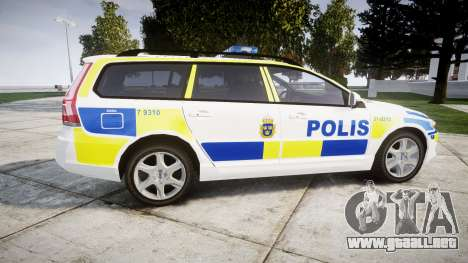 Volvo V70 2014 Swedish Police [ELS] Marked para GTA 4 left