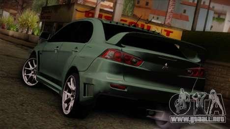 Mitsubishi Lancer Evolution FQ-400 para GTA San Andreas left