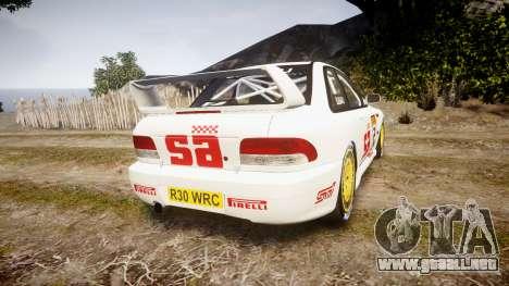 Subaru Impreza WRC 1998 v4.0 SA Competio para GTA 4 Vista posterior izquierda