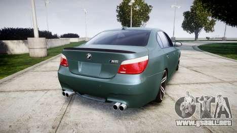 BMW M5 E60 v2.0 Stock rims para GTA 4 Vista posterior izquierda