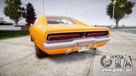 Dodge Charger RT 1969 General Lee para GTA 4 Vista posterior izquierda