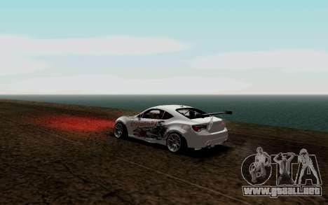 Subaru BRZ VCDT para GTA San Andreas vista posterior izquierda