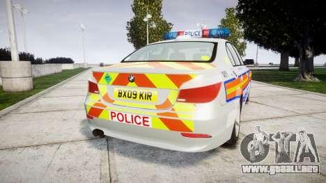 BMW 525d E60 2009 Police [ELS] para GTA 4 Vista posterior izquierda