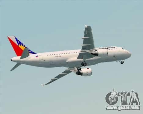 Airbus A320-200 Philippines Airlines para la vista superior GTA San Andreas