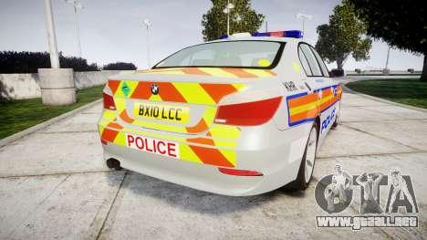 BMW 525d E60 2010 Police [ELS] para GTA 4 Vista posterior izquierda