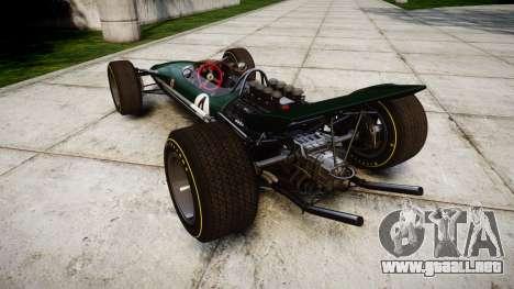 Lotus Type 49 1967 [RIV] PJ3-4 para GTA 4 Vista posterior izquierda