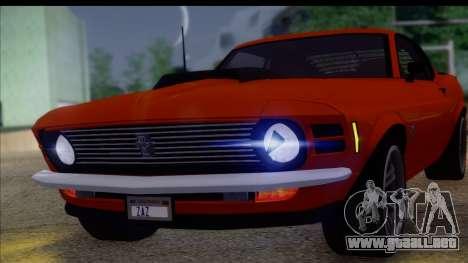 Ford Mustang Boss 429 1970 para GTA San Andreas vista posterior izquierda