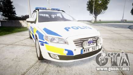 Volvo V70 2014 Swedish Police [ELS] Marked para GTA 4