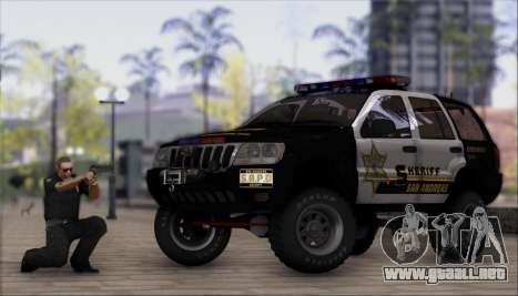 Jeep Grand Cherokee 1999 Sheriff para GTA San Andreas vista posterior izquierda