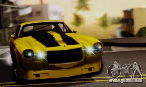 Chevrolet Camaro Mk.II para GTA San Andreas vista hacia atrás