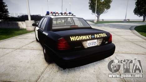 Ford Crown Victoria Highway Patrol [ELS] Vision para GTA 4 Vista posterior izquierda