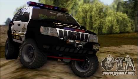 Jeep Grand Cherokee 1999 Sheriff para vista lateral GTA San Andreas