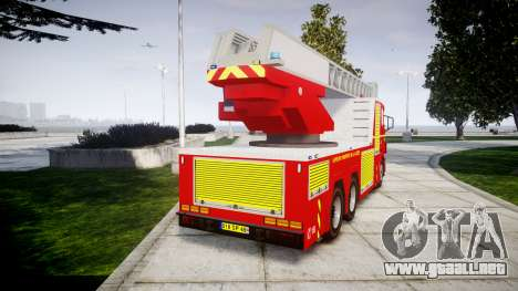 Scania R580 Paris Fireladder [ELS] para GTA 4 Vista posterior izquierda