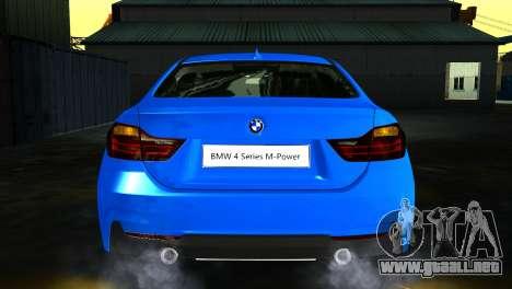 BMW 4-Series Coupe M Sport 2014 para GTA San Andreas vista hacia atrás