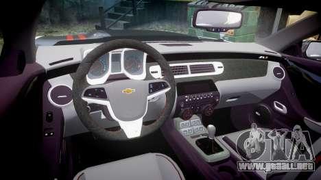 Chevrolet Camaro ZL1 2012 Redline para GTA 4 vista interior