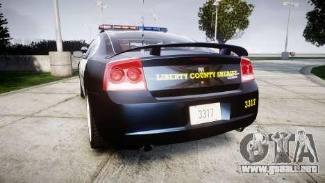 Dodge Charger SRT8 2010 Sheriff [ELS] para GTA 4 Vista posterior izquierda