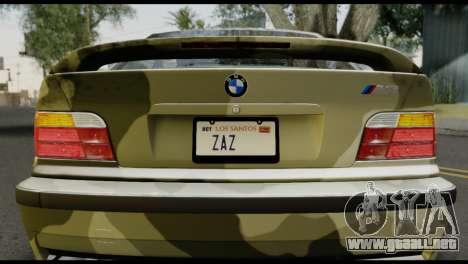 BMW M3 E36 Camo Drift para GTA San Andreas vista hacia atrás
