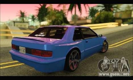 Bravura AWD Turbo para GTA San Andreas vista posterior izquierda