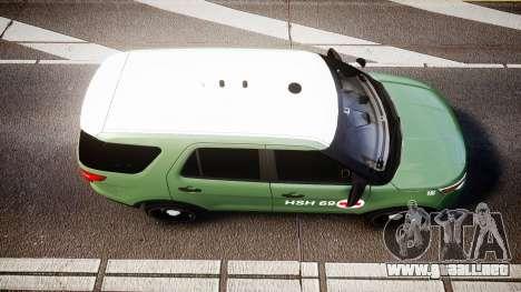 Ford Explorer 2013 Army [ELS] para GTA 4 visión correcta