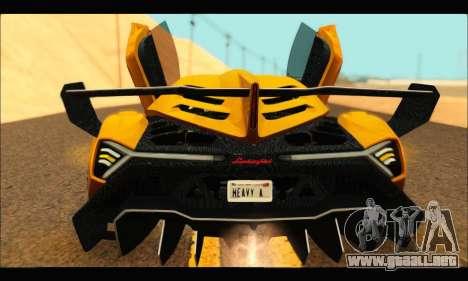 Lamborghini Veneno 2013 HQ para GTA San Andreas vista posterior izquierda