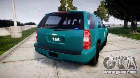 Chevrolet Tahoe 2013 Game Warden [ELS] para GTA 4 Vista posterior izquierda