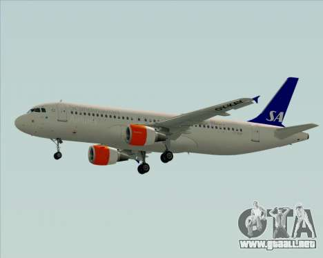 Airbus A320-200 Scandinavian Airlines - SAS para GTA San Andreas vista hacia atrás