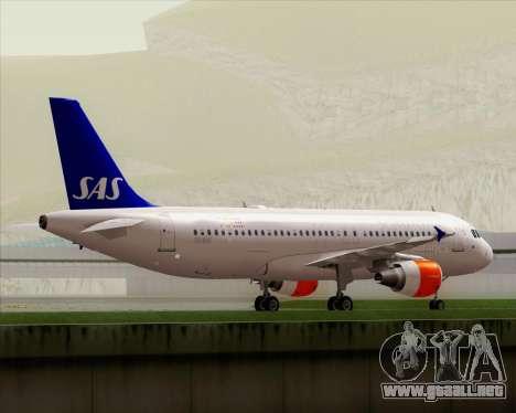 Airbus A320-200 Scandinavian Airlines - SAS para la vista superior GTA San Andreas