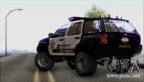 Jeep Grand Cherokee 1999 Sheriff para GTA San Andreas vista hacia atrás