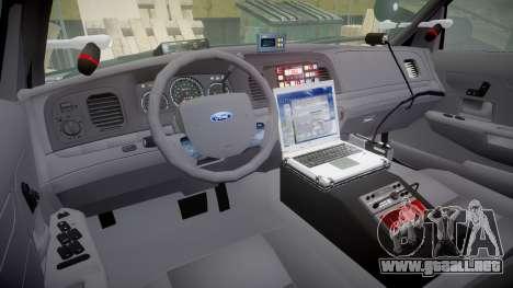 Ford Crown Victoria Highway Patrol [ELS] Vision para GTA 4 vista hacia atrás