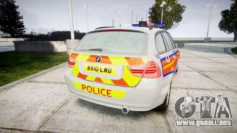 BMW 325d E91 2010 Metropolitan Police [ELS] para GTA 4 Vista posterior izquierda