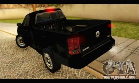 Volkswagen Amarok Cabina Simple para GTA San Andreas vista posterior izquierda