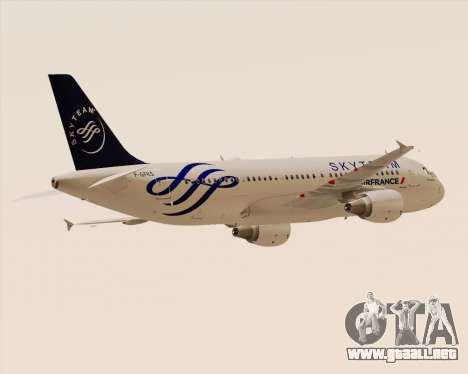 Airbus A320-200 Air France Skyteam Livery para GTA San Andreas vista hacia atrás